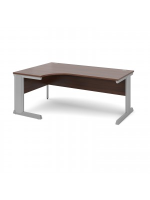 Vivo left hand ergonomic desk 1800mm - silver frame, walnut top
