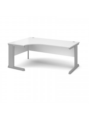 Vivo left hand ergonomic desk 1800mm - silver frame, white top
