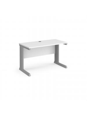Vivo straight desk 1200mm x 600mm - silver frame, white top