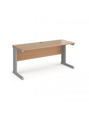 Vivo straight desk 1600mm x 600mm - silver frame, beech top