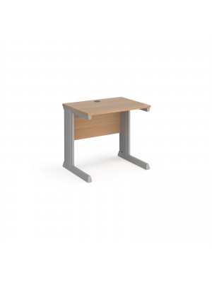 Vivo straight desk 800mm x 600mm - silver frame, beech top