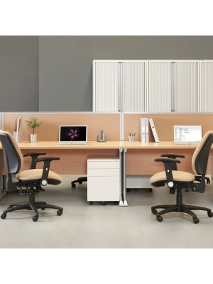 Vivo straight desk 1800mm x 600mm - silver frame, maple top