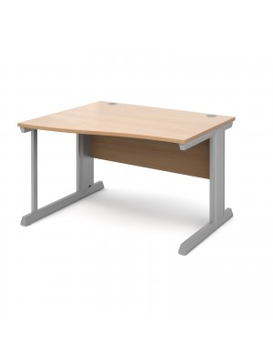 Vivo left hand wave desk 1200mm - silver frame, beech top