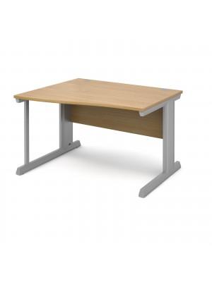 Vivo left hand wave desk 1200mm - silver frame, oak top