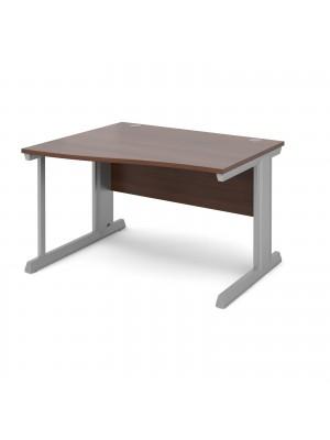 Vivo left hand wave desk 1200mm - silver frame, walnut top