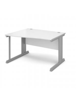 Vivo left hand wave desk 1200mm - silver frame, white top