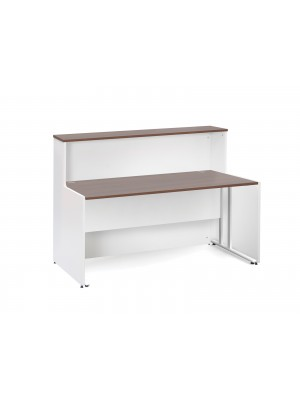 Welcome reception unit with Maestro 25 WL cantilever straight desk 1662mm - walnut and white