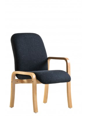 Yealm modular beech wooden frame chair with left hand arm 540mm wide - charcoal