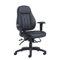 Zeus medium back 24 hour task chair - Black leather
