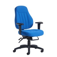 Zeus medium back 24 hour task chair - Blue fabric